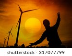 the wind turbine generator the... | Shutterstock . vector #317077799