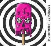 Pink Melting Skull Of Ice Crea...