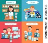 flat design concept of car shop ... | Shutterstock .eps vector #317080511