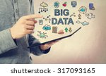 young man pointing at big data... | Shutterstock . vector #317093165