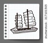 boat doodle | Shutterstock .eps vector #317101505