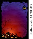 halloween theme with pumpkins ... | Shutterstock .eps vector #317105399