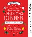 christmas dinner invitation or... | Shutterstock .eps vector #317128904