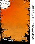 halloween night orange vertical ... | Shutterstock . vector #317129504