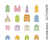 various building icon in pink ... | Shutterstock .eps vector #317135639