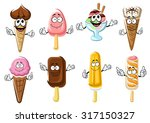 Happy cartoon ice cream cones, popsicles and ice cream sundae characters with chocolate, strawberry, vanilla and berry flavors. For food snack or dessert menu design