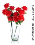 Bouquet Of Plastic Red Roses I...
