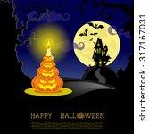 halloween banner with  lamps... | Shutterstock . vector #317167031