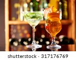 glasses of cocktails on bar... | Shutterstock . vector #317176769