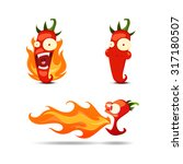 set of the hot chili peppers in ... | Shutterstock .eps vector #317180507