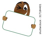 funny coconut with signboard | Shutterstock .eps vector #317184401