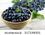 Tasty Ripe Blueberries With...