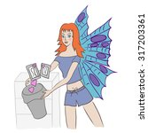 young redhead butterfly lady... | Shutterstock .eps vector #317203361