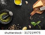 green basil pesto   italian... | Shutterstock . vector #317219975