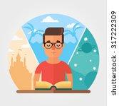flat vector character reading... | Shutterstock .eps vector #317222309