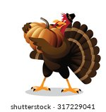 Cartoon Turkey Holding Huge...