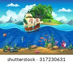 Cartoon Underwater World With...