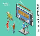 online radio isometric flat... | Shutterstock .eps vector #317233091