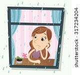 cartoon girl sitting near the... | Shutterstock .eps vector #317234204