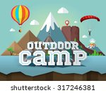 outdoor camp. poster with 3d... | Shutterstock .eps vector #317246381