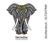 hand drawn front view elephant...