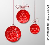 red christmas balls with... | Shutterstock .eps vector #317262725