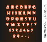 glowing alphabet on a dark... | Shutterstock .eps vector #317301371