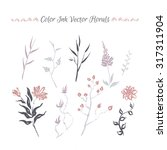 set of hand painted ink florals.... | Shutterstock .eps vector #317311904
