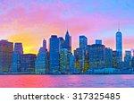 new york city  manhattan famous ... | Shutterstock . vector #317325485