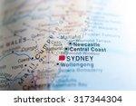 map view of newcastle  austrlia | Shutterstock . vector #317344304