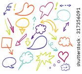 doodle arrows vector color set | Shutterstock .eps vector #317356091