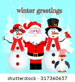 """winter greetings"" santa and... 