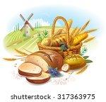 breads in basket against... | Shutterstock .eps vector #317363975