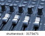 Studio mixing desk up-close - stock photo