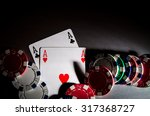 poker cards and chips on... | Shutterstock . vector #317368727