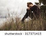pensive young girl. | Shutterstock . vector #317371415