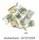 falling euros isolated on white ... | Shutterstock . vector #317371559