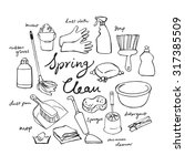 vector doodle set of cleaning... | Shutterstock .eps vector #317385509