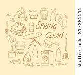 vector doodle set of cleaning... | Shutterstock .eps vector #317385515