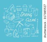 vector doodle set of cleaning... | Shutterstock .eps vector #317385527
