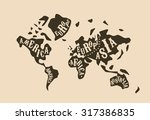 world map with butcher cuts... | Shutterstock .eps vector #317386835