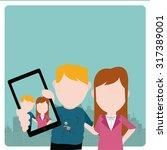 selfie kids illustration over...   Shutterstock .eps vector #317389001
