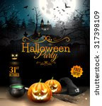 halloween party flyer with... | Shutterstock .eps vector #317398109