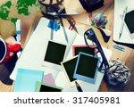 photographer messy desk working ...   Shutterstock . vector #317405981