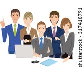 office worker gathers and looks ... | Shutterstock .eps vector #317418791