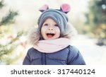 Funny Baby Laughing Outdoors In ...