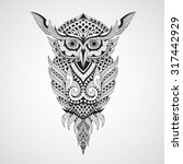 decorative ornamental owl.... | Shutterstock .eps vector #317442929