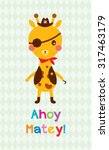 Cute Giraffe Ahoy Pirate Poster