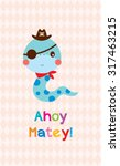 Cute Snake Ahoy Pirate Poster