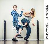 two modern dancers couple woman ... | Shutterstock . vector #317509037